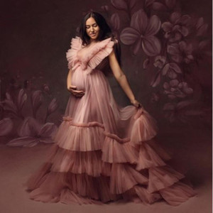 Dusty Pink Tulle V Neck Prom Dresses Sleeveless Tiered Maternity Photoshoot dress Baby Shows Wmen Party Wear Formal Evening Gowns