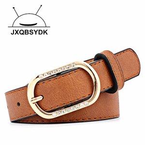 JXQBSYDK Cinturones de lujo para mujeres de moda Diamante Diseño Pin Hebilla Cinturones de imitación PU 2020