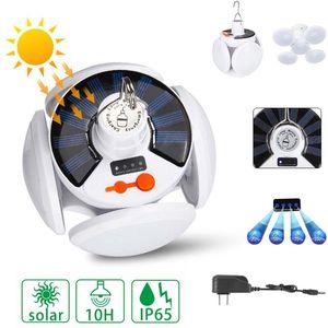 45LED Solar Light Football Bulb Outdoor Waterproof 90° Fold Solar Emergency Rechargeable Bulb Light Camping Garden Lighting For Hiking
