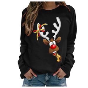 Симпатичные рождественские печати Толстовка для женщин 2020 с длинным рукавом Женский Одежда Осень O-образным вырезом Пуловер Merry Chirstmas # t1g