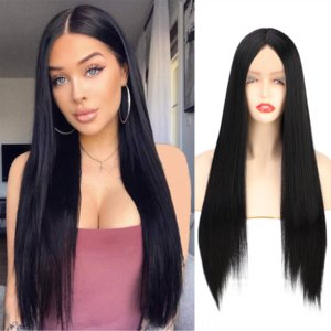 Z0F9M Lady Front Lady Medium Long Long Lee Lea Headgear Wig Lace Chemical Fiber WiT Secover