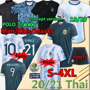 2020 2021 Argentina Messi Soccer Jersey Dybala di Maria Higuain Kun Aguero Lautaro Uomo + Kid Kit Kit Football Polo Camicie maschera maschera maschera