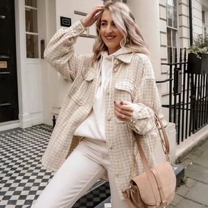 ZXQJ mulheres tweed oversize vintage xadrez camisas longas 2020 Outono senhoras chiques streetwear camisa solta elegante fêmea outfits meninas