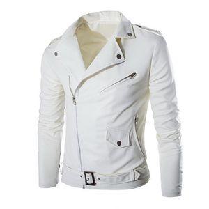 Primavera de los hombres chaqueta de cuero Autum Slim Fit Moda Motocicleta abrigos aptitud Casaco Masculino Streetwears de la cremallera de la chaqueta de la PU Negro