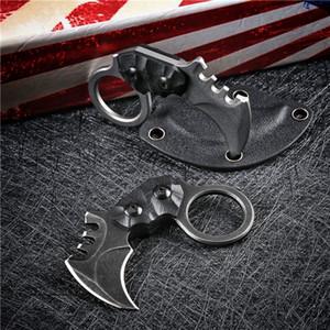 High Quality Mini Small EDC Pocket Fixed Blade Claw Knife AUS-8A Black Stone Wash   Satin Blade Full Tang G-10 Handle Karambit