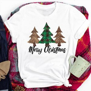 Women Lady Leopard Tree 90s Trend New Year Happy Holiday Merry Christmas Print Tshirt Clothes Top Graphic Female T Tee T shirt