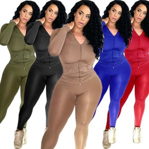two pieces sets hoodie leggings women sweatsuits spring clothing plain jacket tracksuits solid color outfits XL sportswear loungwear 3991