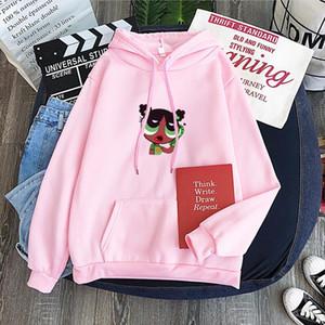 Cartoon Super Power Girl 10 Colors Korean Hooded Sweatshirts Female 2020 Polyester Thicken Warm Hoodies Lady Autumn Fashion Tops
