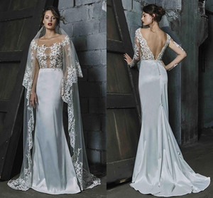 Beach Mermaid Wedding Dresses 2021 Scoop Sheer Neck Lace Appliqued Illusion Long Sleeves Bodice Bridal Gowns Sexy Backless Vestidos AL7370