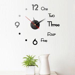 2020 New Clock Watch Wall Clocks Horloge 3d Diy Acrylic Mirror Stickers Home Decoration Living Room Quartz Needle