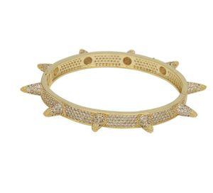 Rivet Stud Mens Charm Bracelets Bangle Iced Out Gold Silver Color Bracelets Hip Hop Punk Gothic Bling Jewelry