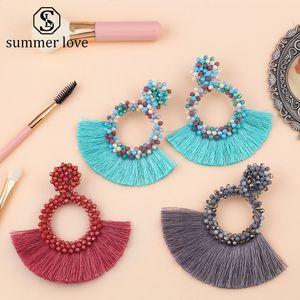 2019 Vintage Ethnic Bohemian Tassel Dangle Earrings for Women Handmade Long Fringed Crystal Beaded Hoop Drop Earring Statement Jewelry Gift