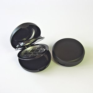 free shipping plastic black triplex clamshell wet and dry pressed powder box.