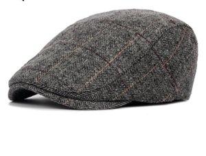 Hot Hommes d'hiver Laine Tartan plat Cap Mode laine chaude Bérets Chapeaux conduite Cap Beret Newsboy Caps pour les hommes