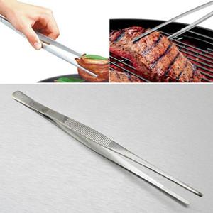 BBQ alimentaire Brucelles industrielle en acier inoxydable Denté longue ligne droite brucelles jardin médical Cuisine Barbecue Accessoires pour outils DHF2473