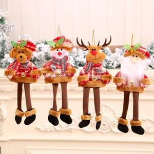 New decorations Christmas Tree Pendant long leg Santa Claus small cloth hanging gift