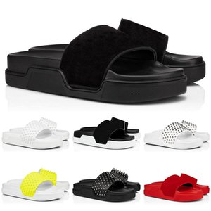 Hot Sale- leather slippers slides flip flops sandals men women red bottom spikes summer mens outdoor sandals