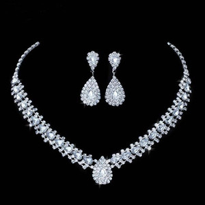Luxurious Wedding Jewelry Sets for Bridal Bridesmaid Jewelery Drop Earring Necklace Set Austria Crystal Wholesale Gift