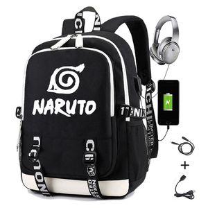 Naruto Mochila para meninos meninas estudante saco de escola com USB Carregamento Impressão de Gaara Sasuke Uchiha Laptop Casual Travel Backpack 201119