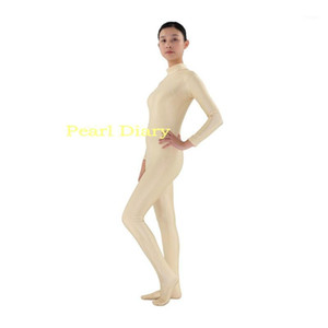 Beige Zentai Suit Lycra Dance Unitard Spandex Long Sleeve full Bodysuits Catsuit Wear Skin without hood & hands1