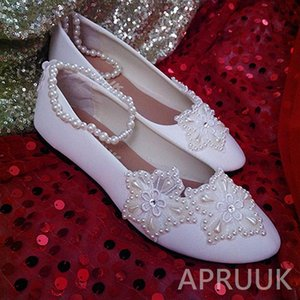 Beading pearls stars flower wedding shoes bride handmade ankle beads elastic strap ladies party ceremony proms dress flats shoe