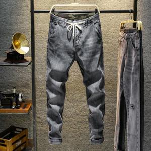 LEOSOXS Spring Jeans Men Denim Negro Color Sólido Casual Lavado Casas Retales Pantalones Moda Moda salvaje