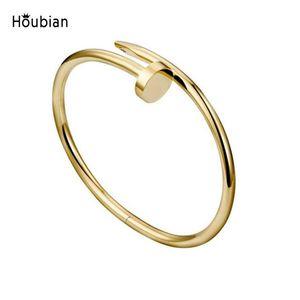 estilo 20Explosive nenhuma fivela pulseira de diamante rosa unhas de ouro pulseira personalidade de titânio de aço generosa de aço inoxidável pulseira parafuso prego