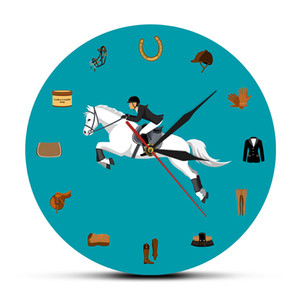 Equestrian Sport Equipments Modern Acrylic Wall Hanging Clock Horse Riding Accessories Wall Watch Equestrianism Horse Lover Gift