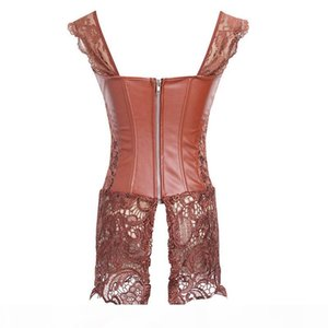 qualityFaux Leather corset dress steampunk corset top Court Shaper Overbust Bustier Gothic Clothing Body Shaper Women Sexy Lingerie