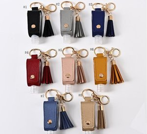 30ml hand sanitizer bottle Holder PU Leather Cover Cases Keychains Bags Tassel student schoolbag metal keychain leather case SN4733
