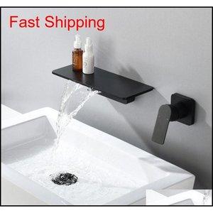 Cascata rubinetto opaco nero a parete da bagno da bagno vasca da bagno rubinetto grande mensola piattaforma bacino acqua mi jllpuv BDEBAG