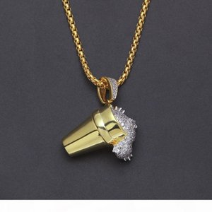 Hiphop Ice Cream Cone Pendant Gold Silver Double Color Plated Copper Material Drunk Cup Charming Pendant Necklace hip hop jewelry