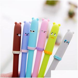 4 Pcs Lot Gel Pen Neutral Pen Cute Bear Black Lnk Pens Writting School Office Stationery Lovely Students Supplies Kawaii Gifts Efaap