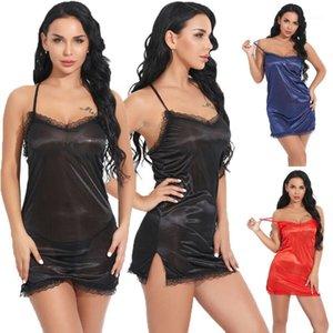 Ropa de dormir de las mujeres Mujeres sexy Vestido de encaje Lingerie Lady BabyDolls Ropa interior Night-Gown1