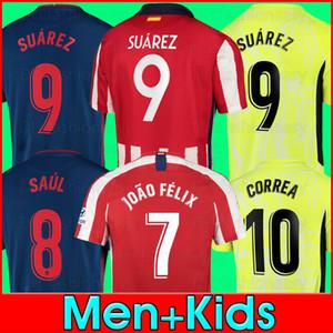 20 21 Camisas de futebol JOAO FELIX 2020 2021 SAUL Camisetas de futebol SUAREZ Mens Jersey Crianças Kit DIEGO COSTA Camisa manga comprida