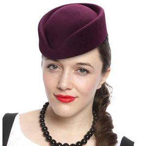 Top Quality Women Wool Felt Beret Hat Teardrop Fancy Stewardess Air Hostesses Pillbox Hat Millinery Fascinator Base Cap 201009