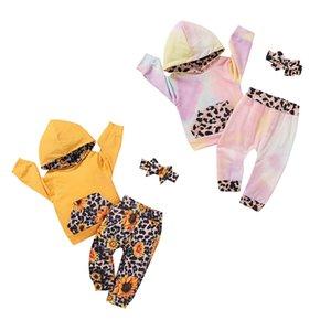 Bambino Tie Dye che coprono insieme Bambini maniche lunghe con cappuccio Top + Pants + fasce 3Pcs / Set Boutique neonati Girasole Leopard Tute Set M2913