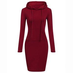 Women Hoodies Winter Dresses Women Solid Color Long Sleeve Sweatshirts Bodycon Autumn Dress Women Robe Femme #38