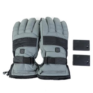 Электрическое отопление Лыжные перчатки 3.7V аккумуляторная батарея водонепроницаемый Покрытием сенсорный экран Зимняя езда Открытый Теплые перчатки с подогревом