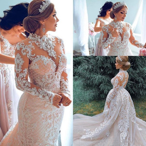New Blush Pink Mermaid Wedding Dresses Long Sleeves High Neck Illusion Lace Appliques Beads Detachable Train Sexy Button Back Bridal Gowns
