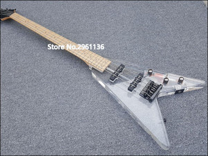 Custom Wholesale High Quality String Acrylic Electric Bass Guitar with LED Lights, Customized Service