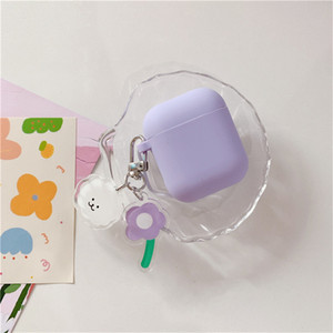 Purple Flowers For Airpods pro Case Liquid Silicone For Apple Airpods2 1 Case Funny Dog Soft Earphone Protect Cover airpods 3 With Keychain
