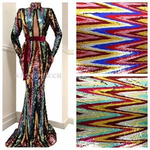 LASUI W0124 NEW multi-color fish scales sequin DIY High-end wave sequined mesh lace fabric fashion clothing costume stage1