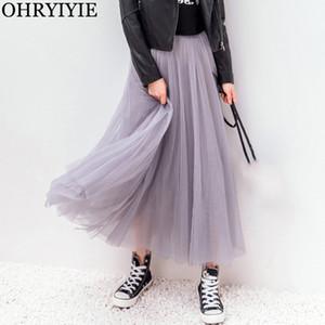 OHRYIYIE Autumn Winter Vintage Tulle Skirt Women Elastic High Waist Mesh Skirts Long Pleated Tutu Skirt Female Jupe Longue 201017