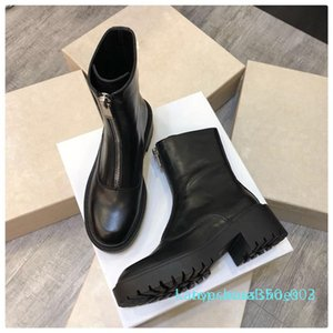 Hot Sale-Autumn Winter Real Leather Martin Boots Engaland Style Thick Bottom Comfortable Ankle Front zipper High Top Flat Knight Boots k02