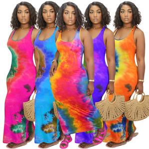 Plus Size S-4XL Tie-Dye Paisley-Frauen kleidet Sleeveless runder Ansatz-langes Kleid Damen Sport-beiläufige Art und Weise kleidet plus Größe S-4XLF92910