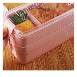 3 Layer Lunch Box Healthy Material Wheat Straw Bento Boxes Microwave Dinnerware Food Storage Contain bbyqbr