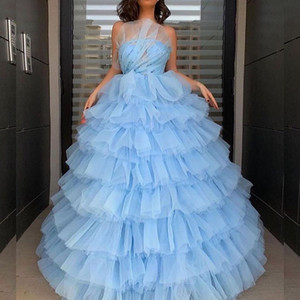 2020 Arabic Aso Ebi Luxurious Sexy Stylish Evening Dresses Beaded Tiers Prom Dresses A-line Tulle Formal Party Second Reception Gowns ZJ285