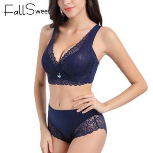 FallSweet Women Sexy Ultra Thin Bra Set See Through Lingerie Lace Underwear Set Y200115