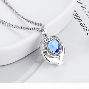 Crystal Blue Heart Cremation Urn Necklace Jewelry Memorial Keepsake Pendant Ash Pendant Necklace for Women Men free shipping